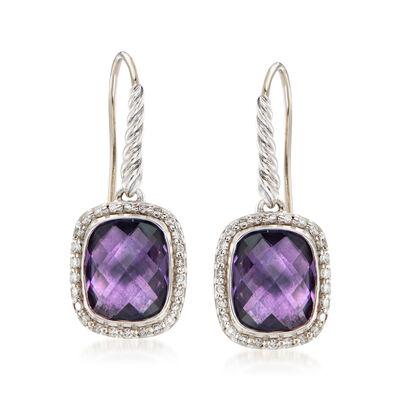 C. 2000 Vintage David Yurman 3.50 ct. t.w. Amethyst and .55 ct. t.w. Diamond Drop Earrings in Sterling Silver