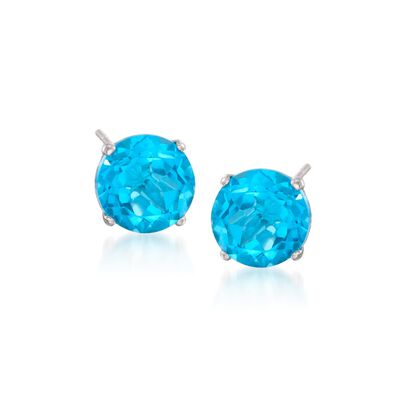 4.70 ct. t.w. Round Blue Topaz Stud Earrings in 14kt White Gold, , default