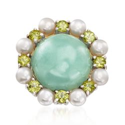 16mm Jade and 4mm Cultured Pearl Ring With Peridot in Sterling Silver, , default