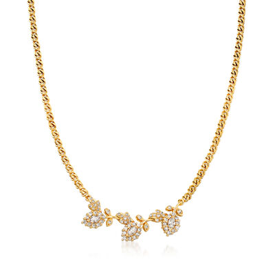 C. 1980 Vintage 2.00 ct. t.w. Diamond Leaf Necklace in 18kt Yellow Gold, , default