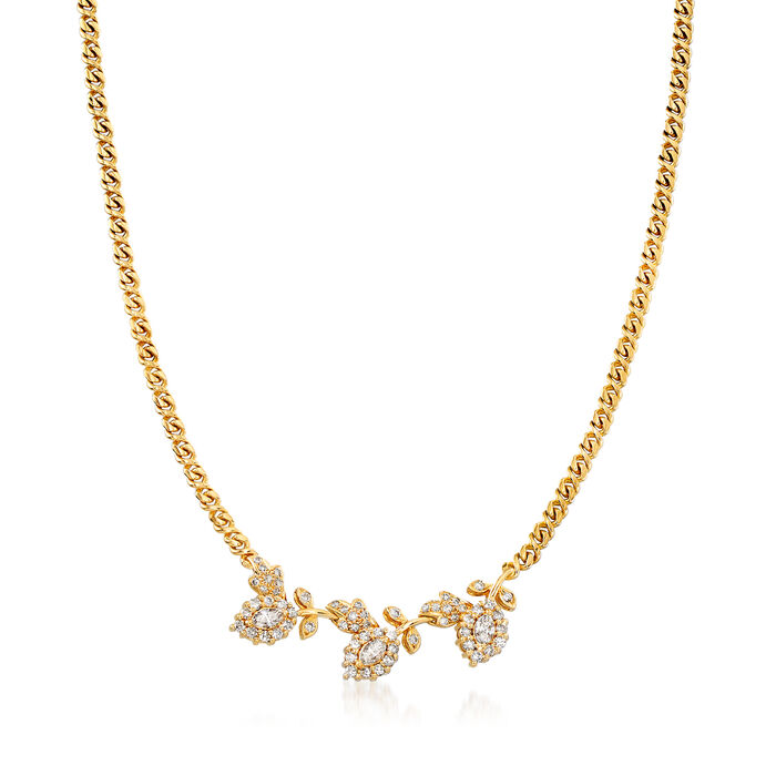 C. 1980 Vintage 2.00 ct. t.w. Diamond Leaf Necklace in 18kt Yellow Gold