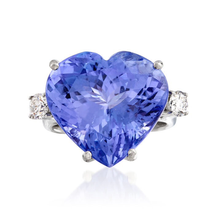 20.00 Carat Tanzanite and .55 ct. t.w. Diamond Ring in 18kt White Gold