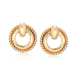 Italian 14kt Yellow Gold Round Rope Border Earrings , , default