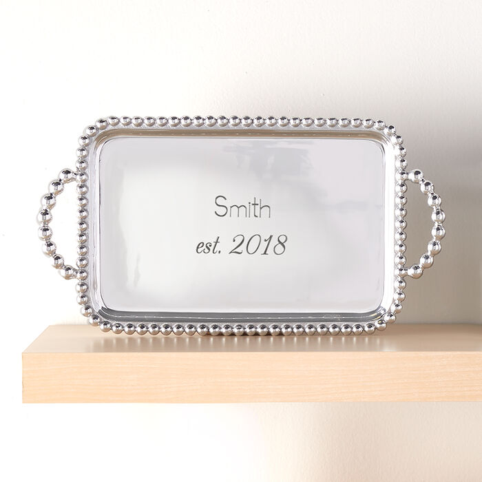 """Mariposa """"Strings of Pearls"""" Personalized Rectangular Serving Tray, , default"""