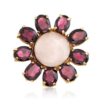 Italian 15.5mm Rose Quartz and And 25.00 ct. t.w. Garnet Flower Ring in 18kt Gold Over Sterling, , default