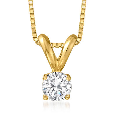 .25 Carat Diamond Solitaire Pendant Necklace in 14kt Yellow Gold