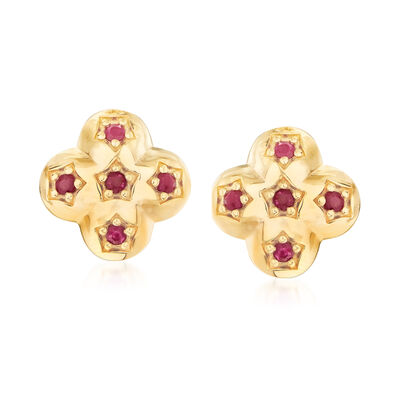 .30 ct. t.w. Ruby Earrings in 18kt Gold Over Sterling