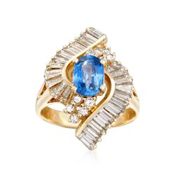 C. 2000 Vintage 1.65 Carat Sapphire and 2.95 ct. t.w. Diamond Swirl Cocktail Ring in 14kt Yellow Gold. Size 8.5, , default