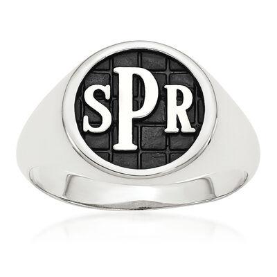 Sterling Silver Antiqued Polished Monogram Signet Ring, , default