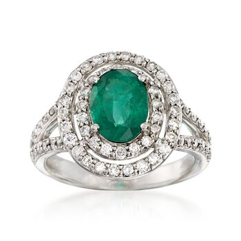 1.50 Carat Emerald and .80 ct. t.w. Diamond Halo Ring in 14kt White Gold, , default
