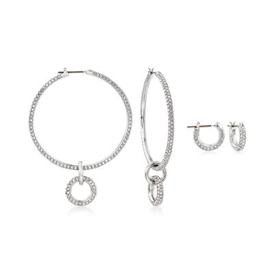Swarovski Crystal Jewelry Set: Three Piece Interchangeable Earrings, , default