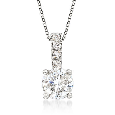 1.00 Carat Diamond Pendant Necklace with Diamond-Accented Bale in 14kt White Gold, , default