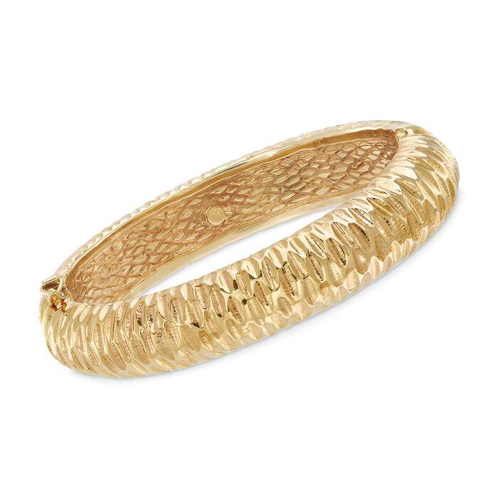 "Italian 18kt Yellow Gold Textured Bangle Bracelet. 8"", , default"