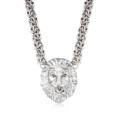 Italian Sterling Silver Byzantine Lion Head Necklace, , default