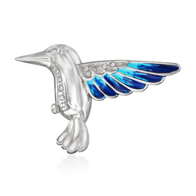 C. 2000 Vintage Blue Enamel and .10 ct. t.w. Diamond Hummingbird Pin in 14kt White Gold, , default