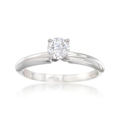 C. 2000 Vintage .44 Carat Diamond Solitaire Engagement Ring in 14kt White Gold, , default