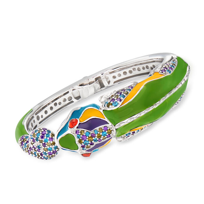 "Belle Etoile Multicolored Enamel and 4.69 ct. t.w. CZ Chameleon Cuff Bracelet in Sterling Silver. 7.5"", , default"