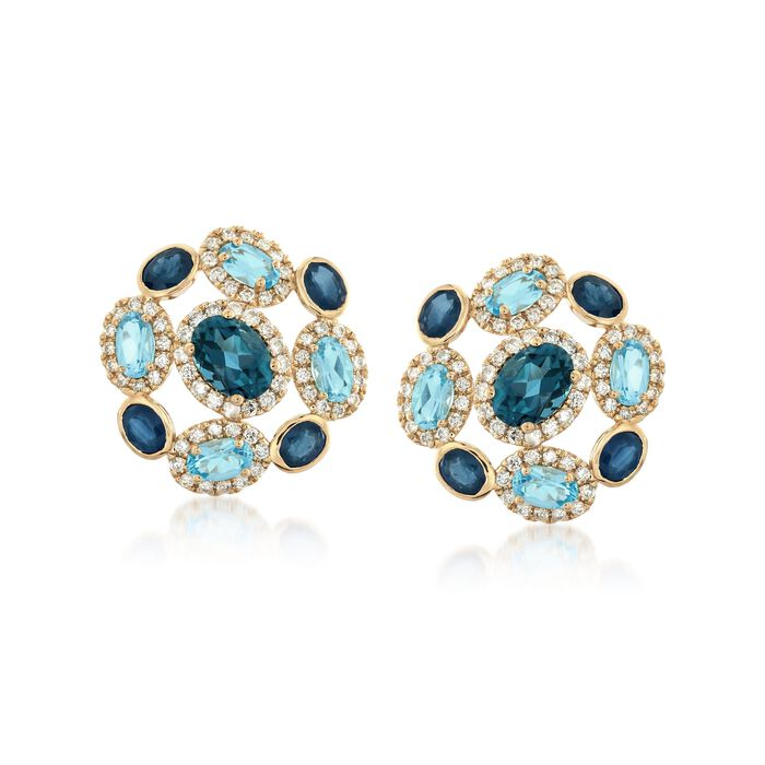 2.40 ct. t.w. Sapphire and 4.00 ct. t.w. Blue Topaz Earrings with 1.00 ct. t.w. Diamonds in 14kt Yellow Gold, , default
