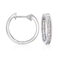 ".43 ct. t.w. Baguette Diamond Inside-Outside Hoop Earrings in Sterling Silver. 5/8"", , default"