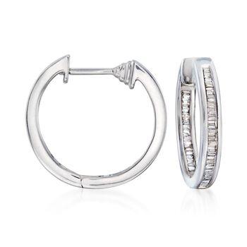 """.43 ct. t.w. Baguette Diamond Inside-Outside Hoop Earrings in Sterling Silver. 5/8"""", , default"""