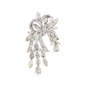 C. 1980 Vintage 18.75 ct. t.w. Diamond Ribbon Pin in Platinum, , default
