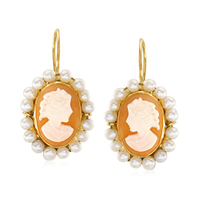 C. 1985 Vintage 2.5mm Cultured Pearl and Pink Shell Cameo Drop Earrings in 14kt Yellow Gold