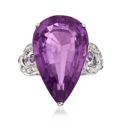 C. 1970 Vintage 15.35 ct. t.w. Amethyst and .16 ct. t.w. Diamond Cocktail Ring in 10kt White Gold