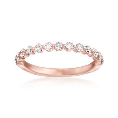 Henri Daussi .50 ct. t.w. Diamond Wedding Ring in 18kt Rose Gold, , default