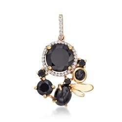 Black Onyx and .30 ct. t.w. White Topaz Pendant in 14kt Yellow Gold Over Sterling Silver, , default