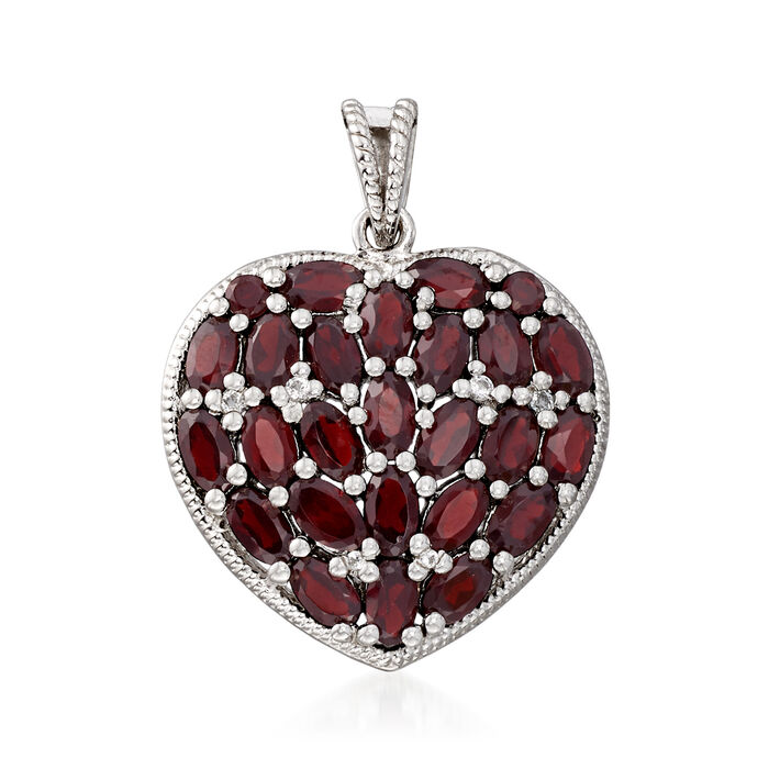 7.60 ct. t.w. Garnet and .11 ct. t.w. White Topaz Heart Pendant in Sterling Silver, , default