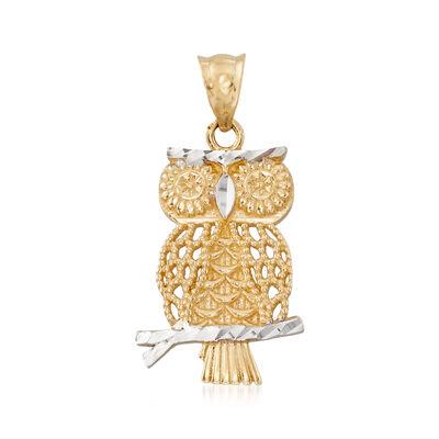 14kt Two-Tone Gold Owl Pendant, , default