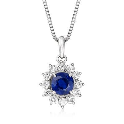 C. 1990 Vintage 1.30 Carat Sapphire and .48 ct. t.w. Diamond Pendant Necklace in Platinum, , default