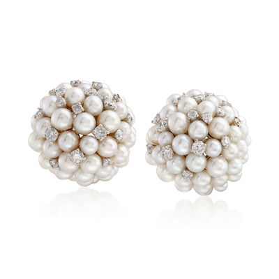 Cultured Pearl and .69 ct. t.w. Diamond Cluster Earrings in 18kt White Gold , , default