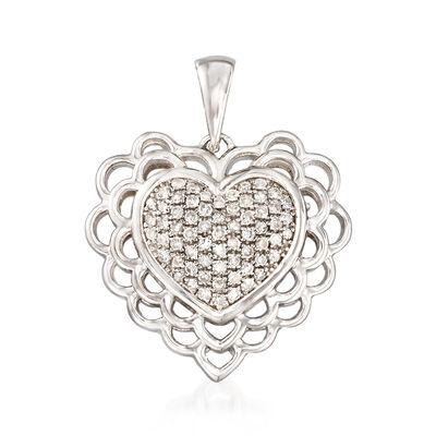 .20 ct. t.w. Diamond Heart Pendant in Sterling Silver , , default