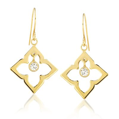 .20 ct. t.w. CZ Open Clover Drop Earrings in 14kt Yellow Gold, , default