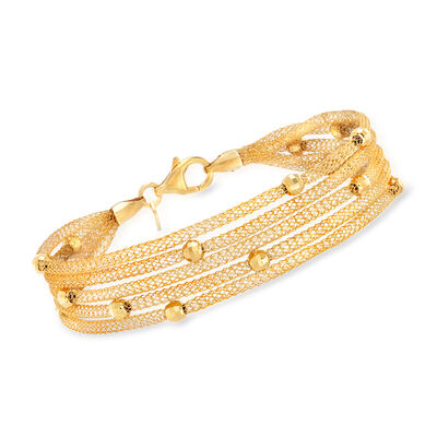 Italian 18kt Gold Over Sterling Multi-Strand Mesh Bracelet, , default