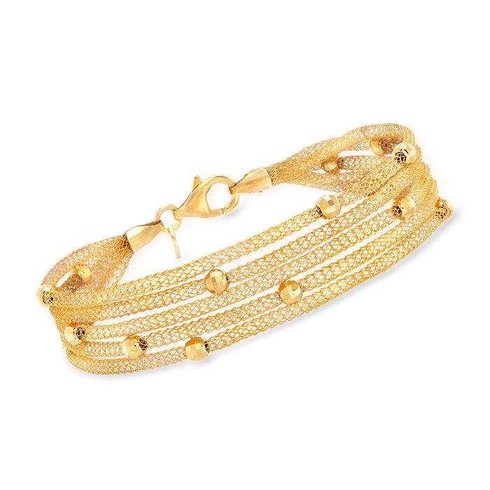 Italian 18kt Gold Over Sterling Multi-Strand Mesh Bracelet, , default
