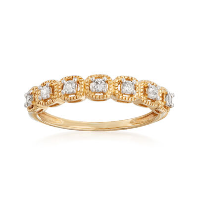 .15 ct. t.w. Diamond Beaded-Edge Ring in 14kt Yellow Gold