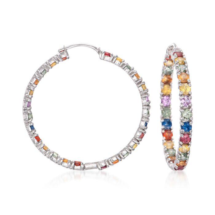 """6.20 ct. t.w. Multicolored Sapphire Inside-Outside Hoop Earrings in Sterling Silver. 1 3/8"""", , default"""
