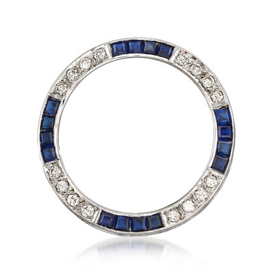 C. 1970 Vintage 1.60 ct. t.w. Sapphire and .50 ct. t.w. Diamond Circle Pin in 14kt White Gold, , default