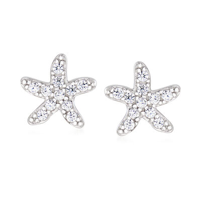 .20 ct. t.w. CZ Starfish Earrings in Sterling Silver, , default