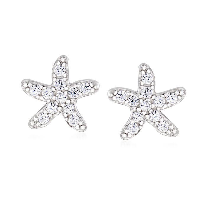 .20 ct. t.w. CZ Starfish Earrings in Sterling Silver