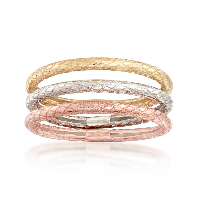 14kt Tri-Colored Gold Jewelry Set: Three Textured Bands, , default