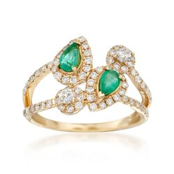 .70 ct. t.w. Diamond and .40 ct. t.w. Emerald Bypass Ring in 14kt Yellow Gold, , default