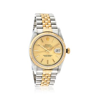 C. 1976 Vintage Rolex Datejust Men's 36mm Stainless Steel and 18kt Gold Watch. Size 8, , default