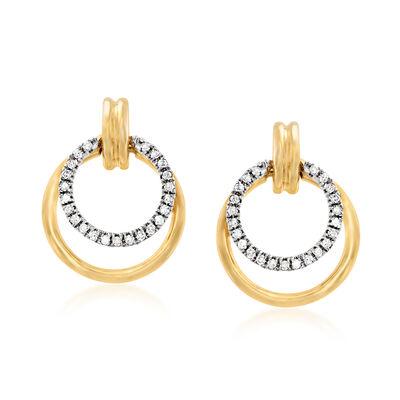 .10 ct. t.w. Diamond Double Circle Drop Earrings in 14kt Yellow Gold, , default