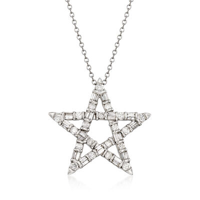 1.00 ct. t.w. Diamond Star Pendant Necklace in 14kt White Gold, , default