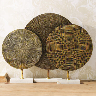 Set of 3 Textured Metal Sculptures with Marble Base, , default