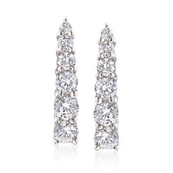 1.15 ct. t.w. Graduated CZ Linear Drop Earrings in Sterling Silver , , default