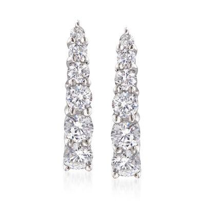 1.15 ct. t.w. Graduated CZ Linear Drop Earrings in Sterling Silver, , default